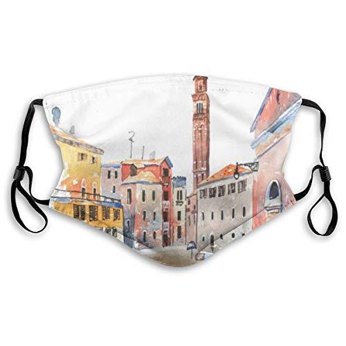 ZORMIEY Face Cover Fassadenfarbene Aquarellskizze Altstadt E.urope Aquarell Hand Berühmte Urban Venetian Aquarelle Wiederverwendbare Anti-Staub-Mund-Bandanas mit 2 Filtern