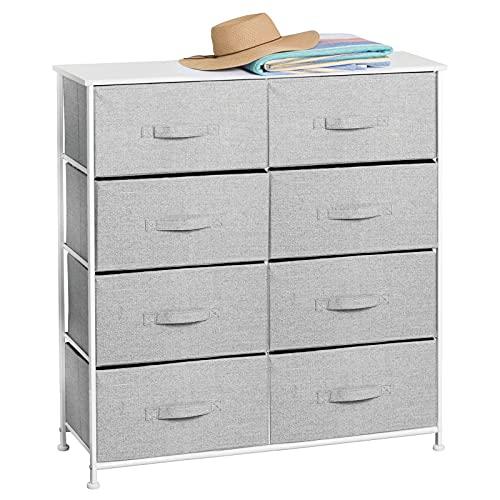 mDesign Mueble cómoda con 8 cajones – Cajonera auxiliar con estante de madera de MDF para el dormitorio, la sala de estar o el pasillo – Sinfonier alto para guardar ropa hecho de metal y tela – gris