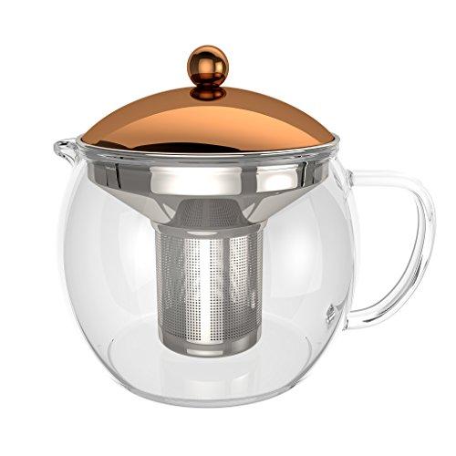 bonvivo TEMPA Teiera con infusore in Acciaio Inox rimuovibile, teiera per tè in Foglie, teiera in Vetro borosilicato Resistente al Calore Dotata di Coperchio con rifinitura Stile Rame, 1500ml