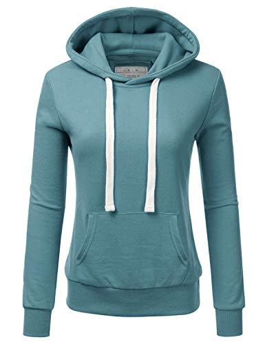Doublju Basic Lightweight Pullover Hoodie Sweatshirt for Women TEALBLUE S