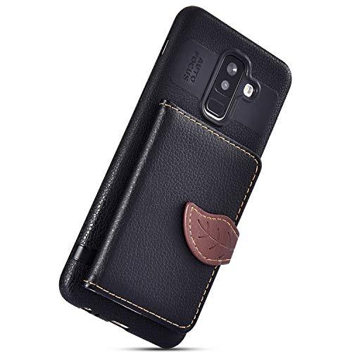 Herbests Compatible avec Samsung Galaxy A6 Plus 2018 Coque en Cuir Housse Etui de Protection Multi-Fonction Arrière Coque à Rabat Magnétique Ultra Mince Flip Coque avec Porte-Cartes,Noir