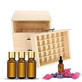 Caja de madera para botellas de aceite esencial de 90 ranuras, organizador de madera para botellas de aceite ligero