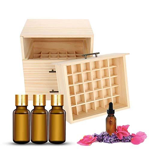 Caja de almacenamiento de botellas de aceite de madera, 90 ranuras contenedor de tres niveles fragancia caja de almacenamiento de aceite esencial presentación de viaje