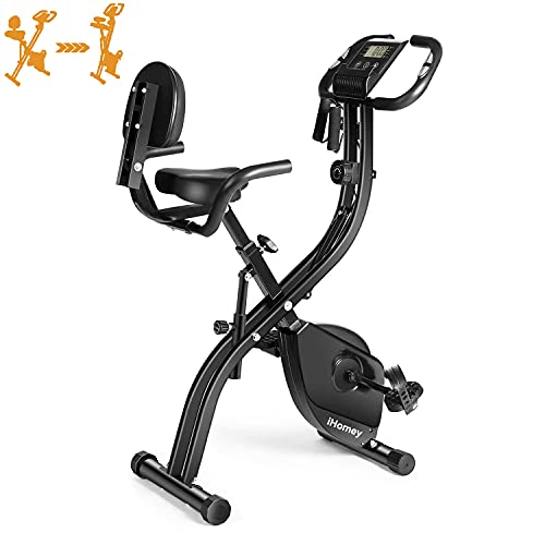iHomey Folding Exercise Bike Magnetic Upright Indoor Cycling Bike with Phone Mount and Resistance Bands for Home Cardio Workout