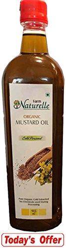 Farm Naturelle Organic Virgin Cold Pressed Kachi Ghani Mustard Oil, 915 ml