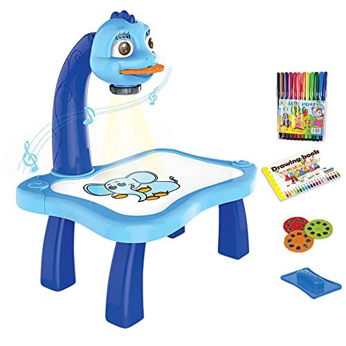 Mesa de proyector de dibujo para niños, diseño de traza y dibujo de juguete con luz y música, máquina de escritorio inteligente para niños y niñas