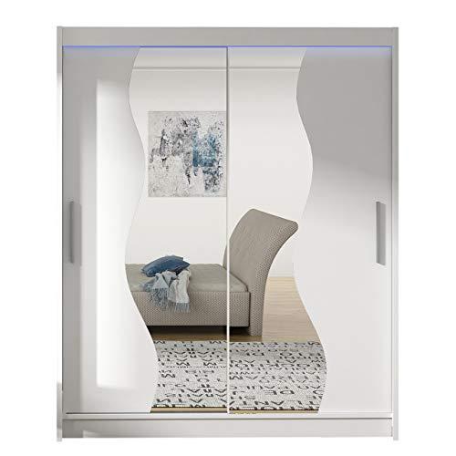 Schwebetürenschrank Westa S mit Spiegel, Breite: 150cm, Kleiderschrank mit Kleiderstange und Einlegeboden Modern Design, Schlafzimmer, Diele & Flur Garderoben (Weiß / Spiegel, mit RGB LED-Beleuchtung)