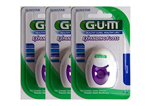 3x GUM Expanding Floss Flausch-Zahnseide 30 m Dental Floss