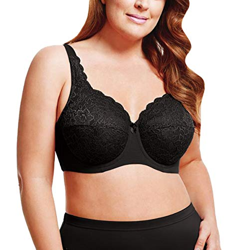 Elila Isabella Lace Full Coverage Bra, 42K, Black