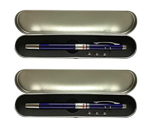HABFHN 指示棒伸縮自在 ポインター ロングサイズ 指し棒プレゼンテーション ボールペンマグネットライトインジケーター付き 学校教育用品 2点セット (ブルー)