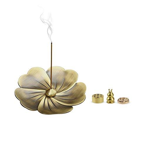 HOGAR AMO 5 in 1 Räucherstäbchenhalter Lotus Ash Catcher Kupfer Weihrauchbehälter Set Räuchergefäß Räucherschale Halter Räucher Zubehör