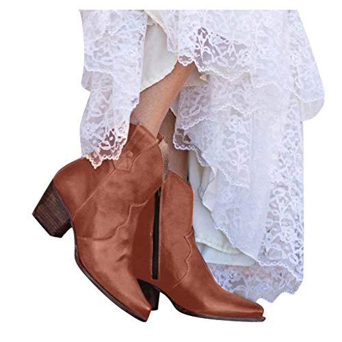 Alwayswin Damen Vintage Kurzstiefel mit Absatz Frauen Elegant Reißverschluss Stiefeletten Mode...