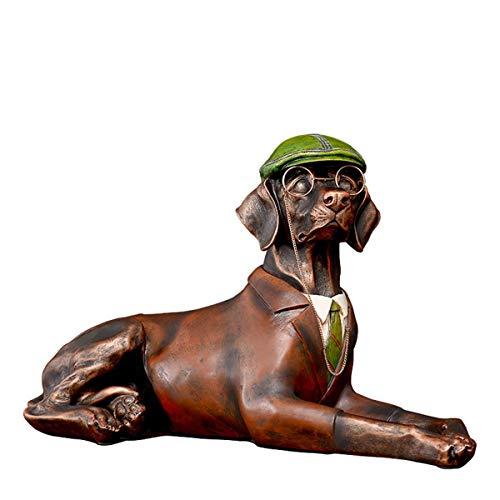 Estatua de Perro Sentado Grande con Sombrero Verde, Figuras de Animales de Resina de 15 Pulgadas de Altura para decoración de Mesa de Oficina en casa