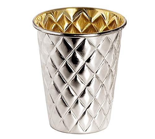 Brillibrum Design Trinkbecher versilbert antibakteriell innen Goldoptik Silberbecher hält Getränke länger kühl Geschenkidee Becher Silber poliert (Raute, 12 cm, Ohne Gravur)