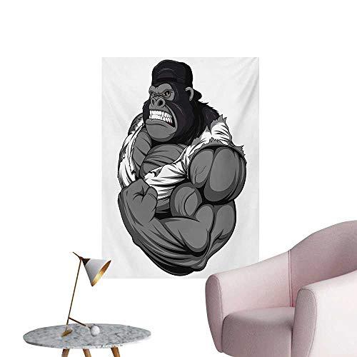 Anzhutwelve Cartoon Poster Wall Decor Image of Big Gorilla Like as Professional Athlete