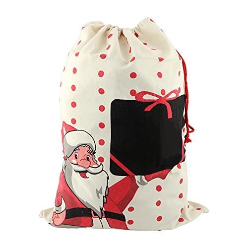 Navidad Regalo Bolsas Santa Sacos Personalizadas con Cordón, Extra Grande 68x50cm Decoraciones de Adornos y Festivos para Fiestas Infantiles para niños Chica Chico (Extra Grande)