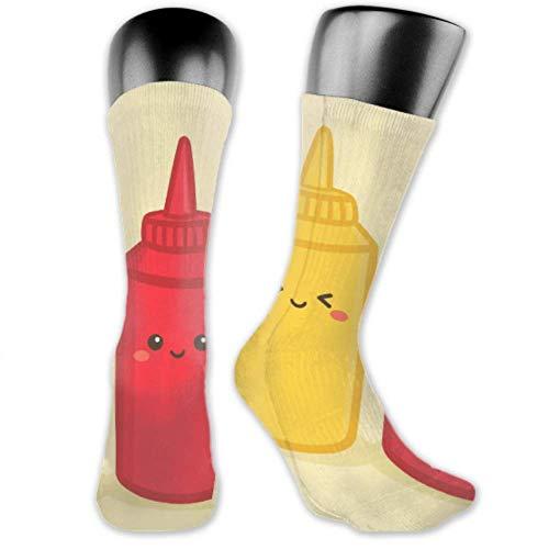 JONINOT 2 paquetes de calcetines deportivos ligeros y cómodos 40CM novedad divertida linda botella de salsa de tomate mostaza medias largas