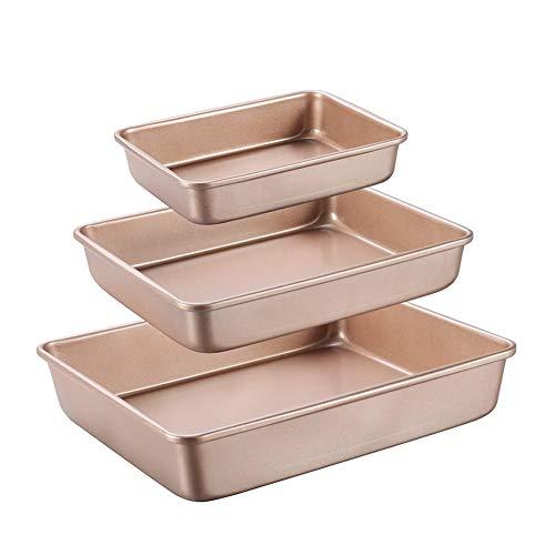 CANDeal 3pcs Non Stick Oven Baking Trays Set, 9/11 / 13 inch Baking Pan Cookie Sheet Set, Deep Base Roasting Tins