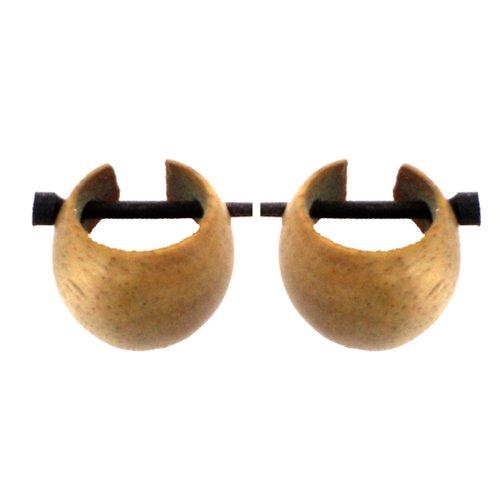 Bois brun clair Chic-Net bois Hoop sculpté à la main en bois de teck de 16mm Pin Boucles d'oreilles