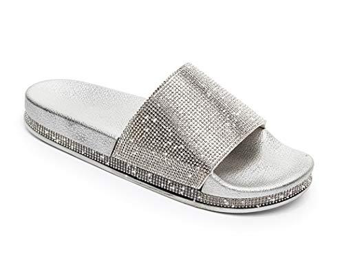 Damen Mädchen Sandalen Sommer Hausschuhe Flip Flops Mode Flache mit Strass Glitzer für Frauen Sommer Flip Flops Casual Strand Sandale Flache Schuhe (EU 39, Silber)