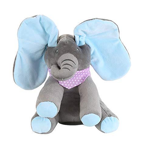 N / A Elefante Juguete Eléctrico Orejas Música Bebé Bebé Niños Animal Escondite Gato Apaciguar Muñeca Elefante Perro Conejo Peluche Gris Azulado