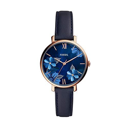 Fossil Women's Jacqueline Quartz Leather Three-Hand Watch, Color: Rose Gold Floral, Navy (Model: ES4673)