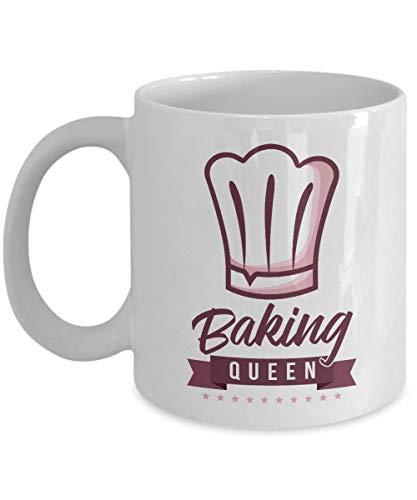 Baking Queen Chef's Hat Cooking Themed Ceramic Coffee & Tea Mug, Stuff, Kitchen Supplies, Décor, Items & Accessories For Home Cook Mom, Pastry Chef, Bread Baker & Cupcake Or Cake Bakers (11oz)