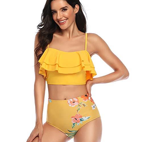 YANFANG Ropa de baño para Mujer, Ropa de Bikini de Traje de baño con Volantes Estampada Sexy de Moda para Mujer Atractivo de Color Amarillo Playa natación Surf Piscina