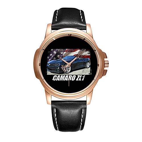Personality Mode wasserdichte Herren-Armbanduhr Analoges Quarzlederband Mit Gold-250.2014 Camaro ZL1 Convertible Watch