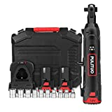 """Electric Ratchet Wrench,PULITUO 3/8"""" Cordless Ratchet Wrench 40N.m 300 RPM Power Ratchet Wrench Kit w/ 10 Sockets,2-Pack 2.0Ah Li-Ion Batteries and 60-Min Fast Charge Variable Speed"""