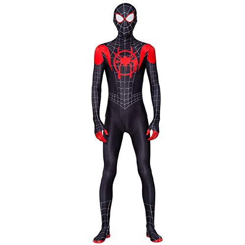Bodies cosplay traje del hombre araña super héroe de Miles Morales vestido de lujo Medias de Lycra Spandex Zentai Body Película apoyo del partido de Halloween Conjoined,Black- Adult S(155~165cm)