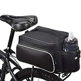 Bicycle Rear Seat Rack Trunk Bag Bike Cargo Bag Cycling Luggage Bag Shoulder Strap Bag Handbag Outdoor Travel Winter Sports Bag for Ski | 3 Side Reflective Strip | Bottle Pocket | Strong Velcro Black