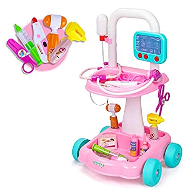 UNIH Doctor Cart Kit for Kids 3 4 5, Medical Play Set Realistic with Lights Toddlers Toys for Boys Girls 2-4 (Pink) by UNIH