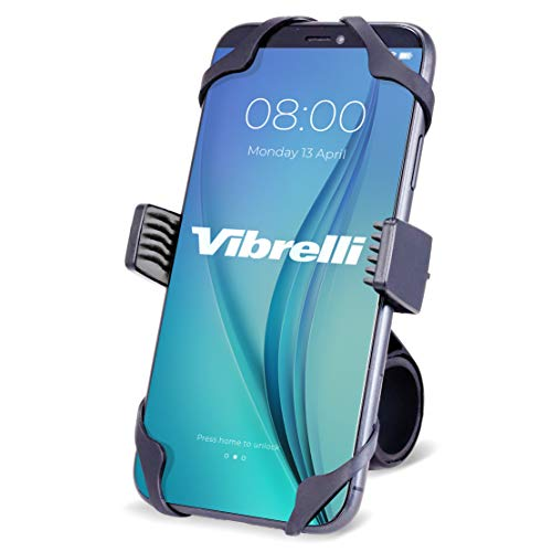Vibrelli Universal Motorcycle & Bike Phone Mount | Handlebar Phone Holder for Bikes, Bicycles, Scooter, ATV | Fits: iPhone 11, XR, X, XS, 8, 8 Plus, 7, 7 Plus, 6, 6 Plus | Galaxy S10, S9, S8