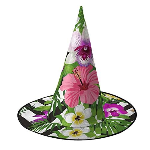 Sombrero de bruja unisex para Halloween, disfraz de fiesta de flores tropicales, hoja de palma en zig-zag, accesorio de cosplay para niños, hombres, mujeres, negro