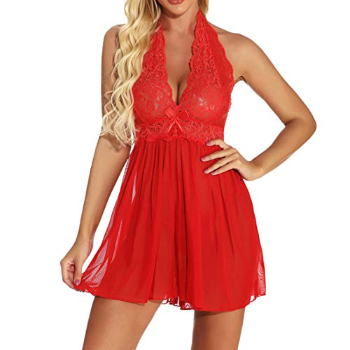 ZHUQI Sexy Negligee Babydoll Nachtwäsche Spitze Dessous Kleid Nachthemd Lingerie Nachtkleid Reizwäsche G-String Sleepwear Durchsichtiger Sexy Minirock Aus Spitze A-Red S