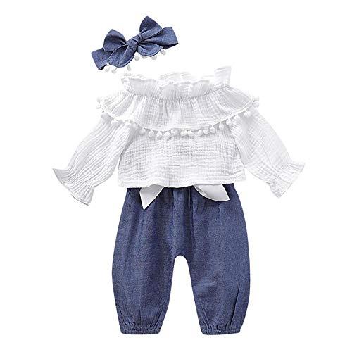 YEBIRAL 3 Stück/Satz Kleinkind Baby Mädchen Kleidung Set Top Rüschen T-Shirt + Hosen + Stirnband Neugeborene Babyset Prinzessin