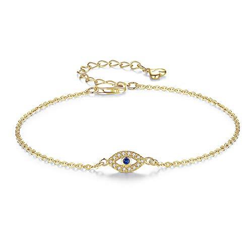 Charms Eye Bracelet 925 Pulseras De Plata Esterlina Para Mujeres Blue Evil Eyes Cz Ajustable Hombres Turquía Joyería
