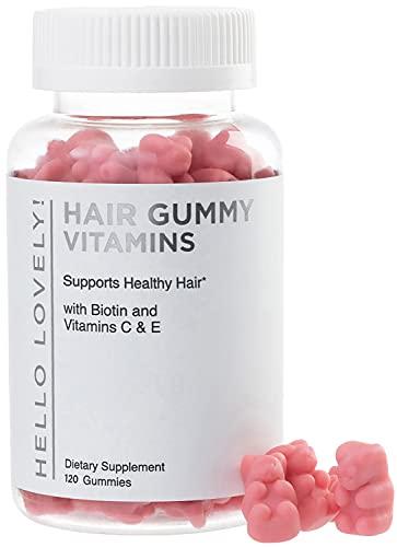 Hello Lovely Hair Vitamins Gummies with Biotin 5000 mcg Vitamin E & C Support Hair Growth, Premium Vegetarian, Non-GMO, for Stronger, Beautiful Hair & Nails, Red Berry Supplement - 120 Gummy Bears