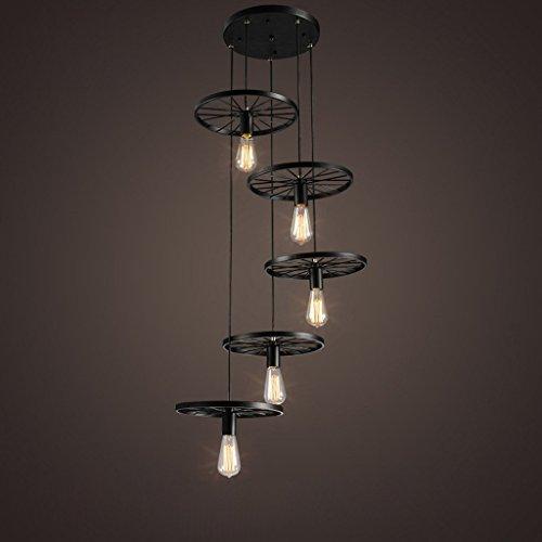 Modeen 5 Lichter Loft Treppen Stil Rad Pendelleuchten Kronleuchter Hängen Vintage Lampe Schwarz Eisen E27 Edison Lampen Indoor Hause Deckenleuchte Scheune Lager Leuchten