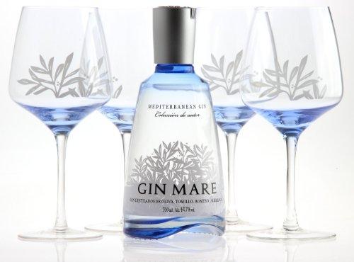 GIN MARE Mediterranean Gin 700ml 42,7% vol. mit 4 Gin Tonic Ballongläsern