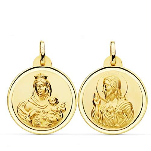 Escapulario Medalla Unisex Oro 18 ktes Tamaño 20 mm Sagrado Corazón y Virgen del Carmen