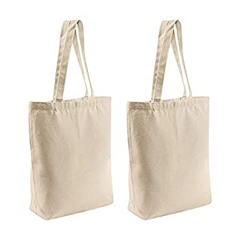 2 Pcs Reusable Large Canvas Tote Bags with Separate Packaging,Multi-purpose Blank Canvas Bags Use for Grocery Bags,Book Bags,Shopping Bags,Craft DIY Drawing,Gift Bags etc 15.7  x15.7  x4.7