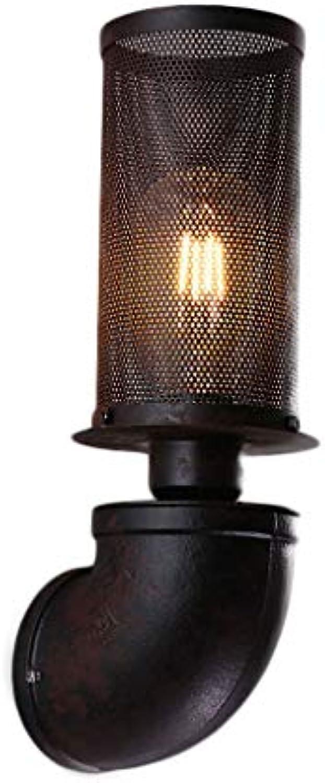 NJ Wandlampe- Retro Industrial Wind Wandleuchte, E27 Wohnzimmer Esszimmer Cafe Bar Korridor Gang Eisen Mesh Dekorative Licht (12cm  H35cm)