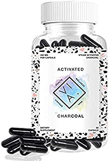 VIA Organic Activated Charcoal, Highest Absorbtion, Prevent Hangovers, Alleviate Gas and Bloating, Digestive & Stomach Relief, Natural Max Full Body Detox, Vegan, Non-GMO (60 Capsules)