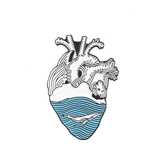 Aisoway Gioielli Organo dello Smalto del Cuore Pin Cuore Coraggioso Spille Medical Lapel Pin Badge