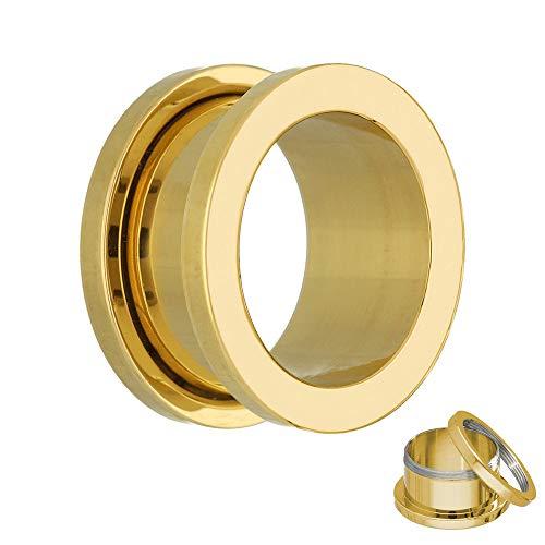 Treuheld® | 12mm Ohr Flesh Tunnel | Gold | Chirurgenstahl 316L | mit Gewinde - Schraubverschluss (zum Schrauben) | antiallergen