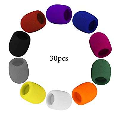 SAVITA 30 Pcs Microphone Windscreen Foam Cover Thick Mic Covers Foam Mic Pop Filter for Meeting Interview Studio Karaoke DJ (10 Colors)