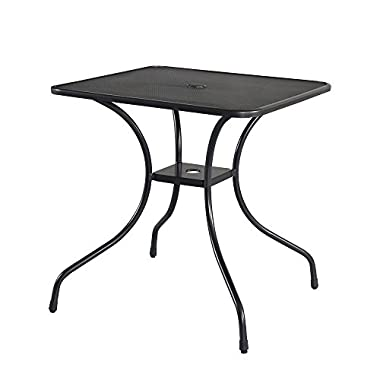 Cloud Mountain 28  x 28  Outdoor Dining Table Square Patio Bistro Table Powder-coated Steel Frame Top Umbrella Stand Deck Outdoor Garden Table, Ash Black