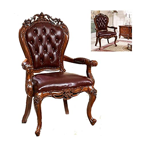 N&O Renovation House Luxurious Leather Executive Side Chair Reception Chair with Frame Finish Ergonomic Lumbar Support